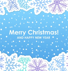 Blue christmas greeting card with paper flakes vector image
