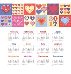 Calendar 2017 with heart week starts sunday vector