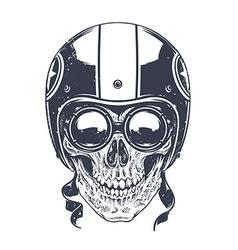 Dotwork Rider Skull vector image vector image