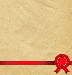 Old Paper With Red Rosette vector image
