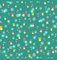 seamless green pattern with christmas decorations vector image vector image