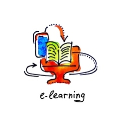 sketch watercolor icon of e-learning distance vector image vector image