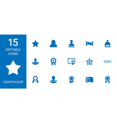 15 certificate icons vector image