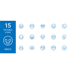 15 emoji icons vector