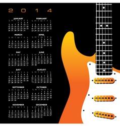 2014 Yellow Guitar Calendar vector
