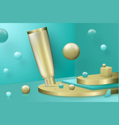 3d realistic abstract scene with paste tube vector image
