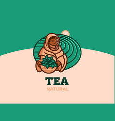 a woman collects tea leaves vector image