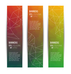 Abstract triangle vertical banners set vector