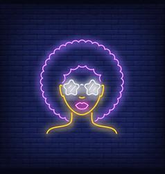 Afro retro girl neon sign vector