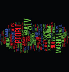 Atv for beginners text background word cloud vector