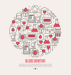 Blood donation concept in circle vector