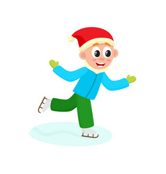 boy having fun racing skates isolated vector image