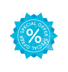 bright blue retro sale badge sign on white vector image