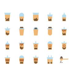 bubble milk tea in flat icon set vector image