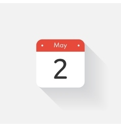 Calendar Icon with long shadow Flat style Date vector image