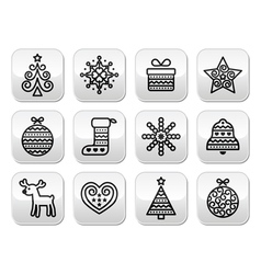 Christmas buttons with stroke - xmas tree present vector