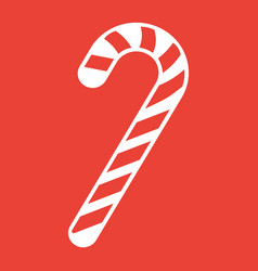 christmas candy cane glyph icon new year vector image