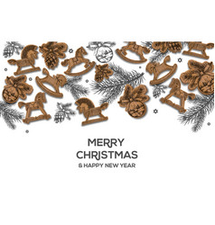christmas holiday hand drawing poster christmas vector image