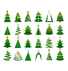 christmas tree color set vector image