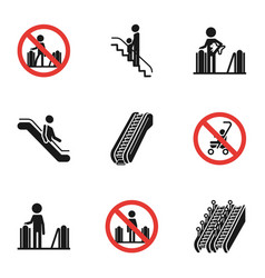 City escalator icon set simple style vector