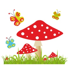 Colorful background with butterfly and amanita vector image