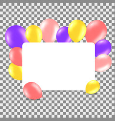 colorful celebration banner with balloons and a vector image