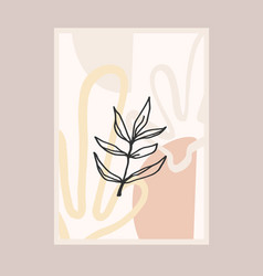 Contemporary art print with abstract plant line vector