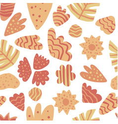 Contemporary leaves seamless pattern hand draw vector