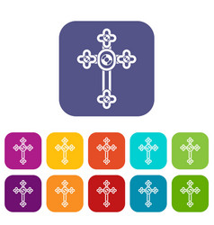 Cross with diamonds icons set flat vector