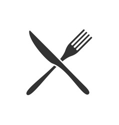 Crossed knife and fork black icons isolated vector
