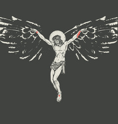 Crucified jesus christ with wings religious vector