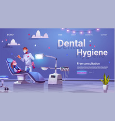 dental hygiene banner with doctor and girl patient vector image