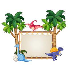 Dinosaur on blank banner vector