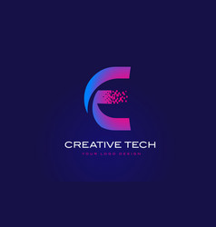 e initial letter logo design with digital pixels vector image