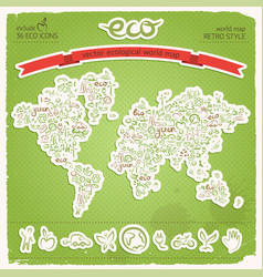 Eco earth map applique on green background vector