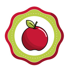 emblem sticker red apple fruit icon stock vector image