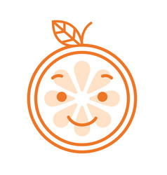 Emoji - orange with happy smile isolated vector