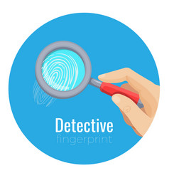 Fingerprint under compact magnifying glass in vector