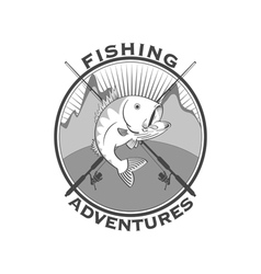 Fishing adventures emblem vector image