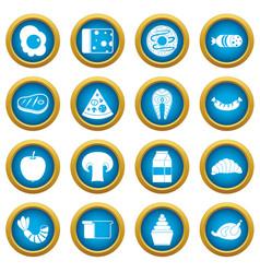 Food icons blue circle set vector