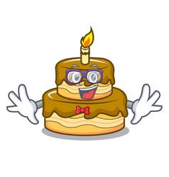 geek birthday cake character cartoon vector image