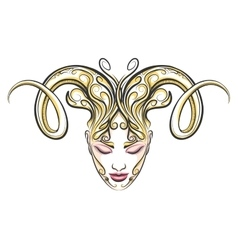 Girl with horns of a ram drawn in tattoo style vector
