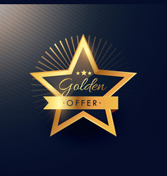 golden offer label badge design in luxury and vector image