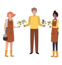 Group male gardeners smiling avatar character vector