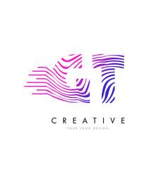 Gt g t zebra lines letter logo design with vector