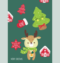 hand drawn of deer for merry c vector image