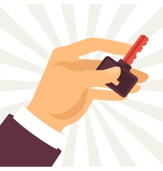 Hand holding key in flat design style vector