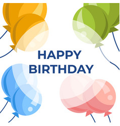happy birthday greeting cartoon card with balloons vector image