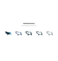Hippopotamus icon in different style two colored vector