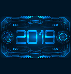 hud ui futuristic frame with text 2019 happy new vector image